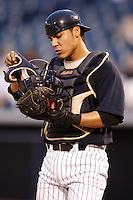 July 10, 2009:  Catcher Jose Gil of the Tampa Yankees during a game at George M. Steinbrenner Field in Tampa, FL.  Tampa is the Florida State League High-A affiliate of the New York Yankees.  Photo By Mike Janes/Four Seam Images