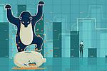 Illustrative image of bear crushing piggybank representing loss in bear market