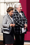 01.10.2012. The Spanish Royal Family, King Juan Carlos, Queen Sofia, Prince Felipe, Princess Letizia and Princess Elena attend the imposition of collective Distinguished Cross San Fernando Al Banner Armored Cavalry Regiment ´Alcántara´ No. 10 in the Royal Palace in Madrid, Spain. In the image Princess Margarita de Borbon and Princess Pilar de Borbon (Alterphotos/Marta Gonzalez)