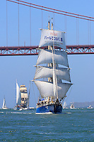 The steel hulled brigantine, STS Kaisei, makes its way into San Francisco Bay while participating in the 2008 San Francisco Festival of Sail activities. Originally built and launched in Poland in 1987, and later acquired by the Sail Training Association of Japan with the mission to bring countries and cultures together through the international language of the sea, the Kaisei is was recently acquired by Ocean Voyages of Sausilito, CA. Photographed 07/08