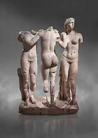 Roman statue of The Three Graces. Marble. Perge. 2nd century AD. Inv no 17.29.81. Antalya Archaeology Museum; Turkey.<br /> <br /> The Three Graces iRoamn statue is of the mythological three charites, daughters of Zeus,  Euphrosyne, Aglaea and Thalia , who were said to represent youth/beauty (Thalia), mirth (Euphrosyne), and elegance (Aglaea).  Against a grey background
