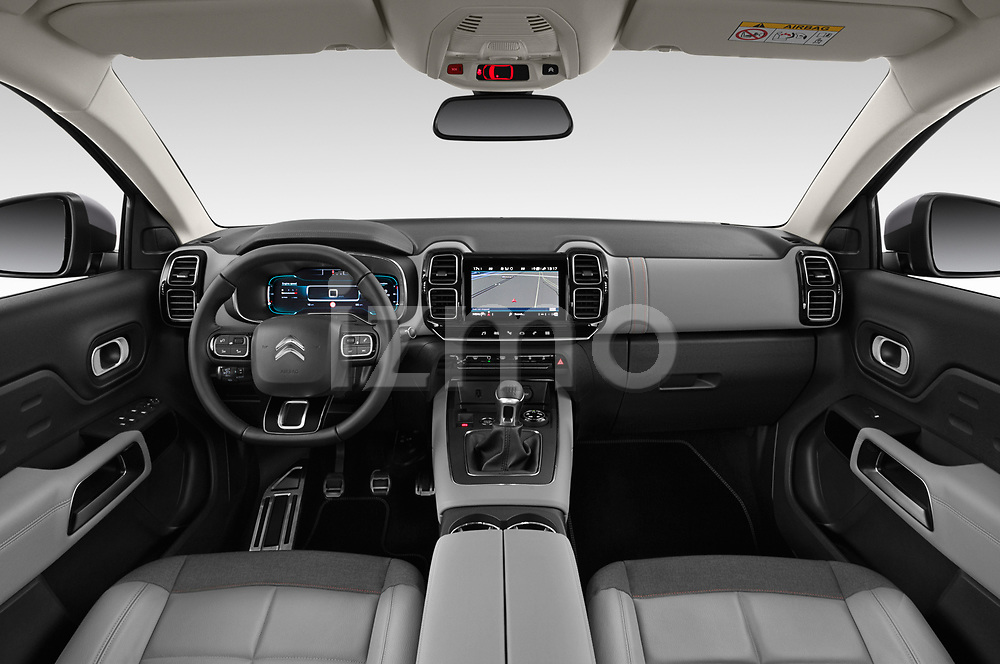 Stock photo of straight dashboard view of 2019 Citroen C5-Aircross Shine 5 Door SUV Dashboard