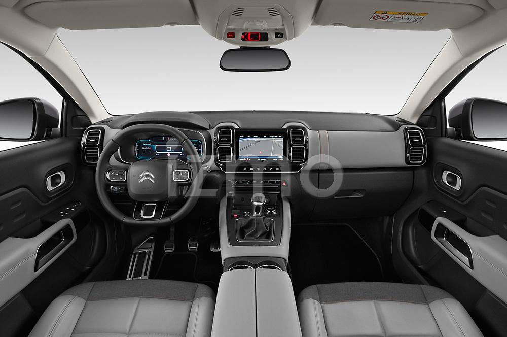 Stock photo of straight dashboard view of 2019 Citroen C5-Aircross Shine 5 Door SUV Dashboard