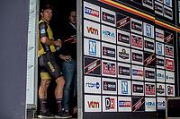 race winner Dylan Groenewegen (NED/Lotto NL - Jumbo).  awaiting the podium ceremony.<br /> <br /> 103th Kampioenschap van Vlaanderen 2018 (UCI 1.1)<br /> Koolskamp – Koolskamp (186km)