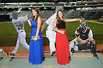 Taylar Sullivan (cq) and Maris Perlman pose with cut-outs of their boyfriends at the Astros Wives' Gala at Minute Maid Park Thursday Aug. 16, 2012.(Dave Rossman/For the Chronicle)