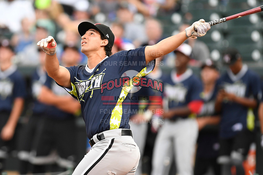 Seby Zavala of the Kannapolis Intimidators participates in the Home Run Derby as part of of the South Atlantic League All-Star Game festivities on Monday, June 19, 2017, at Spirit Communications Park in Columbia, South Carolina. (Tom Priddy/Four Seam Images)