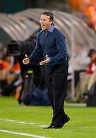 Philadelphia Union head coach John Hackworth yells during a Major League Soccer game at RFK Stadium in Washington, DC. D.C. United tied the Philadelphia Union, 1-1.
