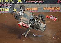 Dec. 11, 2011; Chandler, AZ, USA;  LOORRS pro 2 driver Rodrigo Ampudia crashes hard during the Lucas Oil Challenge Cup at Firebird International Raceway. Mandatory Credit: Mark J. Rebilas-