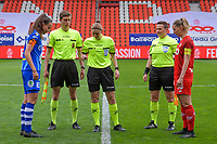 Silke Vanwynsberghe (21) of AA Gent , assistant referee Alexandre Minnoy , referee Viki De Cremer , assistant referee Ella De Vries , Charlotte Cranshoff (18) of Standard pictured before a female soccer game between Standard Femina de Liege and AA Gent Ladies on the 6th matchday in play off 1 of the 2020 - 2021 season of Belgian Scooore Womens Super League , tuesday 11 th of May 2021  in Liege , Belgium . PHOTO SPORTPIX.BE   SPP   STIJN AUDOOREN