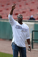 Buffalo Bills running back Fred Jackson waves to the crowd before a Buffalo Bisons game against the Lehigh Valley IronPigs at Coca-Cola Field on April 19, 2012 in Buffalo, New York.  Lehigh Valley defeated Buffalo 8-4.  (Mike Janes/Four Seam Images)