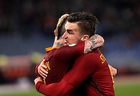Calcio, Serie A: Roma vs Fiorentina. Roma, stadio Olimpico, 7 febbraio 2017.<br /> Roma's Radja Nainggolan, left, celebrates with teammate Kevin Strootman after scoring during the Italian Serie A soccer match between Roma and Fiorentina at Rome's Olympic stadium, 7 February 2017.<br /> UPDATE IMAGES PRESS/Riccardo De Luca