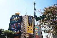 SÃO PAULO, SP, 03.06.2021 - ARTE-SP - Murais do artista visual Kobra, do fotógrafo Guilherme Licurgo e do artista visual Andre Mogle, podem ser vistos na Rua da Consolação, próximo ao cruzamento com a Avenida Paulista, nesta quinta-feira, 3. (Foto Charles Sholl/Brazil Photo Press)