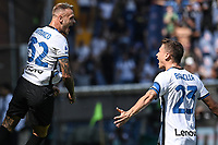 Federico Dimarco of FC Internazionale celebrates with Nicolo Barella after scoring the goal of 0-1 during the Serie A football match between UC Sampdoria and FC Internazionale at stadio Marassi in Genova (Italy), September 12th, 2021. Photo Image Sport / Insidefoto