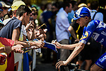 Enric Mas (ESP) Deceuninck-Quick Step with fans at sign on before the start of Stage 16 of the 2019 Tour de France running 177km from Nimes to Nimes, France. 23rd July 2019.<br /> Picture: ASO/Pauline Ballet   Cyclefile<br /> All photos usage must carry mandatory copyright credit (© Cyclefile   ASO/Pauline Ballet)
