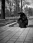 Washington DC:  Sarah Stewart feeding a squirrel in Folger Park. Brady and Sarah Stewart stayed at a nearby hotel while on their honeymoon
