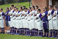 The High Point Panthers stand for the National Anthem prior to the game against the Campbell Camels at Williard Stadium on March 16, 2019 in  Winston-Salem, North Carolina. The Camels defeated the Panthers 13-8. (Brian Westerholt/Four Seam Images)