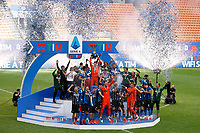 Players of FC Internazionale celebrate the victory of the italian championship at the end of the Serie A football match between FC Internazionale and Udinese Calcio at San Siro stadium in Milano (Italy), May 23th, 2021. Photo Francesco Scaccianoce / Insidefoto