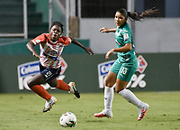 PALMIRA - COLOMBIA, 20-10-2020: Deportivo Cali y Atlético Junior en partido por la fecha 1 de la Liga Femenina BetPlay DIMAYOR 2020 jugado en el estadio Deportivo Cali de la ciudad de Palmira. / Deportivo Cali and Atletico Junior in match for the date 1 as part of Women's BetPlay DIMAYOR League 2020 played at Deportivo Cali stadium in Palmira city.  Photo: VizzorImage / Gabriel Aponte / Staff