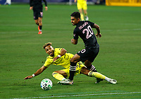 20th November 2020, Nashville, TN, USA;  Nashville SC midfielder Hany Mukhtar is fouled by Inter Miami defender A. J. DeLaGarza during an MLS Cup Playoffs Eastern Conference Play-In game between Nashville SC and Inter Miami, November 20, 2020 at Nissan Stadium
