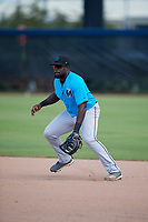 Miami Marlins first baseman Lazaro Alonso (91) during practice before an Instructional League game against the Washington Nationals on September 26, 2019 at FITTEAM Ballpark of The Palm Beaches in Palm Beach, Florida.  (Mike Janes/Four Seam Images)