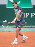 Feliciano Lopez (ESP) loses the first set to Donald Young (USA) at Roland Garros being played at Stade Roland Garros in Paris, France on May 29, 2014