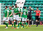 Hibs v St Johnstone….24.08.19      Easter Road     SPFL <br />Zander Clark complains to referee Don Robertson after Adam Jackson scored Hibs first goal<br />Picture by Graeme Hart. <br />Copyright Perthshire Picture Agency<br />Tel: 01738 623350  Mobile: 07990 594431