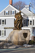 The statue of Roger Conant, the founder of Salem, in front of the Salem Witch Museum in Salem, Massachusetts USA. This museum is about the Witch Trials of 1692.