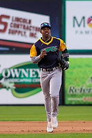 Beloit Snappers outfielder Lazaro Armenteros (8) jogs in from the outfield during a Midwest League game against the Wisconsin Timber Rattlers on May 17, 2018 at Fox Cities Stadium in Appleton, Wisconsin. Beloit defeated Wisconsin 8-7. (Brad Krause/Four Seam Images)
