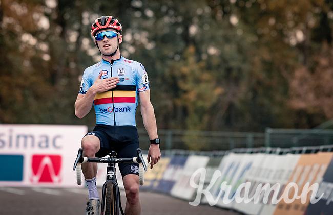 Eli Iserbyt (BEL/Pauwels Sauzen-Bingoal) crossing the finish line and becoming European Champion<br /> <br /> UEC Cyclocross European Championships 2020 - 's-Hertogenbosch (NED)<br /> <br /> Elite MEN<br /> <br /> ©kramon