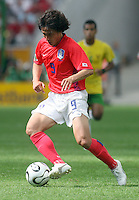 Korea Republic's Jung Hwan Ahn. Korea Republic defeated Togo 2-1 in their FIFA World Cup Group G match at the FIFA World Cup Stadium, Frankfurt, Germany, June 13, 2006.