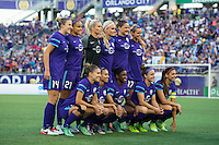 Orlando, Florida - Saturday, April 23, 2016: The starting XI for Orlando Pride during an NWSL match between Orlando Pride and Houston Dash at the Orlando Citrus Bowl.