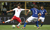 Football: Uefa Nations League match Italy vs Poland, Renato Dall'Ara stadium, Bologna, Italy, September 7, 2018. <br /> Poland's Bartosz Bareszynski (l) in action with Italy's captain Giorgio Chiellini (c) and Lorenzo Insigne (l) during the Uefa Nations League match between Italy and Poland at the Renato Dall'Ara stadium, Bologna, Italy, September 7, 2018. <br /> UPDATE IMAGES PRESS/Isabella Bonotto