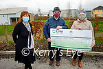 Thomas and Eileen O'Connor from Knocknagoshel presenting €2,200 to Comfort For Chemo from their Headley's Bridge Christmas Crib fundraiser to Mary Fitzgerald from Comfort For Chemo at the UHK on Monday. L to r: Mary Fitzgerald (Comfort For Chemo), Thomas and Eileen O'Connor