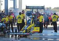 Oct 18, 2019; Ennis, TX, USA; Crew members with NHRA top fuel driver Leah Pritchett during qualifying for the Fall Nationals at the Texas Motorplex. Mandatory Credit: Mark J. Rebilas-USA TODAY Sports