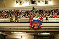 Members of the FBU Trade Union attend a rally in Westminster Central Hall during a one day strike over cuts to pensions. Following the rally they marched to Parliament to lobby MPs and they also blocked Whitehall outside Downing street. 25-2-15