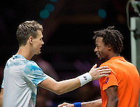 Februari 13, 2015, Netherlands, Rotterdam, Ahoy, ABN AMRO World Tennis Tournament, Tomas Berdych (CZE) - Gael Monfils (FRA)<br /> Photo: Tennisimages/Henk Koster