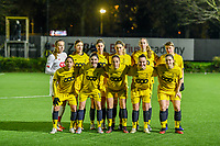 team picture Standard ( Standard goalkeeper Lisa Lichtfus (16) , Standard defender Maurane Marinucci (7) , Standard defender Ellen Charlier (13) , Standard forward Sylke Calleeuw (9) , Standard forward Lisa Petry (21) , Standard midfielder Aster Janssens (5) and Standard forward Lola Wajnblum (11) , Standard forward Noemie Gelders (10) , Standard midfielder Charlotte Cranshoff (18) , Standard forward Davinia Vanmechelen (25) , Standard defender Elien Nelissen (15) ) pictured before a female soccer game between Sporting Charleroi and Standard Femina de Liege on the sixth matchday of the 2020 - 2021 season of Belgian Scooore Womens Super League , friday 6 th of November 2020  in Marcinelle , Belgium . PHOTO SPORTPIX.BE | SPP | STIJN AUDOOREN