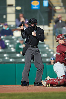 Home plate umpire Anthony Perez  makes a strike call during the game between the Saint Joseph's Hawks and the Western Carolina Catamounts at TicketReturn.com Field at Pelicans Ballpark on February 23, 2020 in Myrtle Beach, South Carolina. The Hawks defeated the Catamounts 9-2. (Brian Westerholt/Four Seam Images)