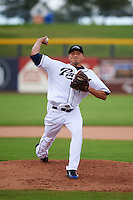 Peoria Javelinas pitcher Elliot Morris (52) delivers a pitch during an Arizona Fall League game against the Mesa Solar Sox on October 21, 2015 at Peoria Stadium in Peoria, Arizona.  Peoria defeated Mesa 5-3.  (Mike Janes/Four Seam Images)