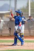 Los Angeles Dodgers catcher Ramon Rodriguez (55) during an Instructional League game against the Milwaukee Brewers at Maryvale Baseball Park on September 24, 2018 in Phoenix, Arizona. (Zachary Lucy/Four Seam Images)