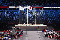 5th September 2021; Tokyo, Japan, 2020 Paralympic Games, closing ceremony:  The Paralympic flag and Japanese national flag are seen during the closing ceremony
