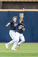Maryland Terrapins outfielder Zach Jancarski (3) makes a running catch against the Michigan Wolverines on April 13, 2018 in a Big Ten NCAA baseball game at Ray Fisher Stadium in Ann Arbor, Michigan. Michigan defeated Maryland 10-4. (Andrew Woolley/Four Seam Images)