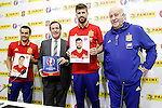 Pedro Rodriguez, Lluis Torrent, CEO of Panini Spain, Gerard Pique and coach Vicente del Bosque during trade event during Spanish national football team staff. March 21,2016. (ALTERPHOTOS/Acero)
