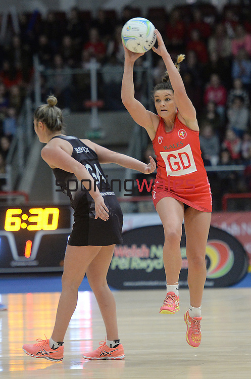 Wales Nia Jones  <br /> <br /> Swansea University International Netball Test Series: Wales v New Zealand<br /> Ice Arena Wales<br /> 08.02.17<br /> ©Ian Cook - Sportingwales