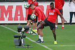 Atletico de Madrid's Lucas Hernandez (l) and Thomas Partey during the first training session 2017/2018 season. July 6, 2017. (ALTERPHOTOS/Acero)