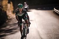 Paweł Poljański (POL/BORA - hansgrohe) trying a solo break up the final climb: the Col de Turini<br /> <br /> Stage 7: Nice to Col de Turini (181km)<br /> 77th Paris - Nice 2019 (2.UWT)<br /> <br /> ©kramon