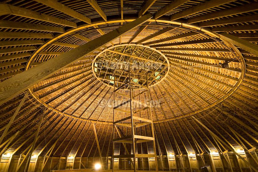 Lenox round barn interior loft at the Taylor County Museum, Iowa.