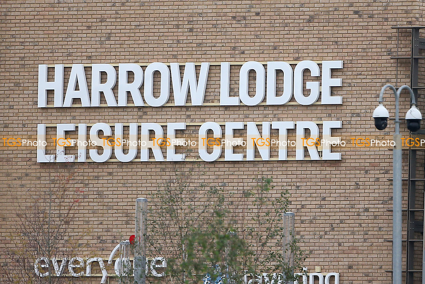 Harrow Lodge Leisure Centre signage during Hornchurch CC vs Wanstead and Snaresbrook CC, Hamro Foundation Essex League Cricket at Harrow Lodge Park on 10th July 2021