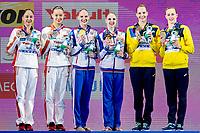 (L to R) China CHN Silver Medal, Russia RUS Gold medal, Ukraina UKR Bronze medal<br /> HUANG Xuechen  - SUN Wenyan, KOLESNICHENKO S. - ROMASHINA Svetlana, FIEDINA Marta -SAVCHUK Anastasiya <br /> Gwangju South Korea 18/07/2019<br /> Artistic Swimming Duet Free Final<br /> 18th FINA World Aquatics Championships<br /> Yeomju Gymnasium <br /> Photo © Giorgio Scala / Deepbluemedia / Insidefoto