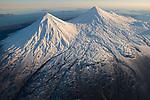 Pavlof Sister, Pavlof Volcano, and Little Pavlof stratovolcanos. Izembek NWR, Alaska.